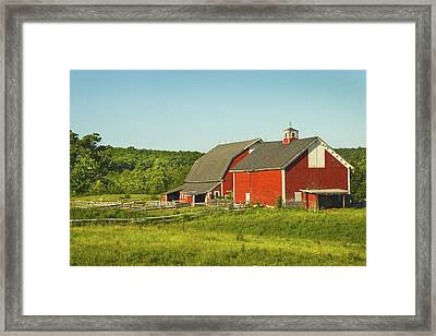 Red Barn And Fence On Farm In Maine Framed Print by Keith Webber Jr