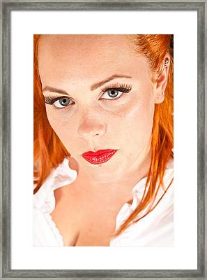 Red Hair Girl In Pin-up Style Portrait Shot In Studio Framed Print by Jean Schweitzer
