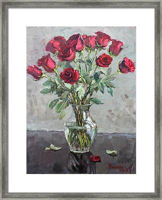 Red Roses Framed Print by Ylli Haruni