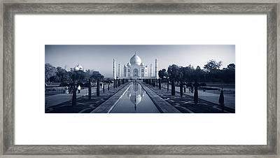 Reflection Of A Mausoleum On Water, Taj Framed Print by Panoramic Images