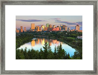 Reflection Of Downtown Buildings Framed Print by Panoramic Images