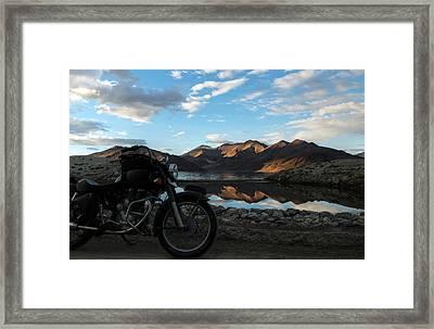 Rider At Pangong Framed Print by Rohit Chawla