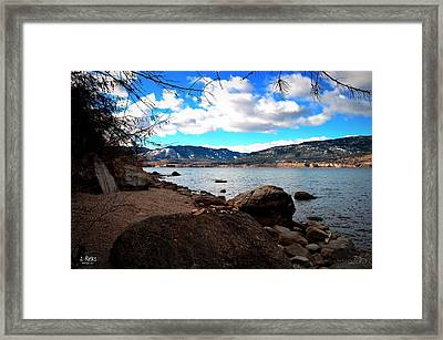 2-rocks - Okanagan Lake Penticton 2-19-2014 Framed Print by Guy Hoffman