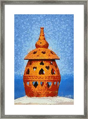 Roof Pottery In Sifnos Island Framed Print by George Atsametakis