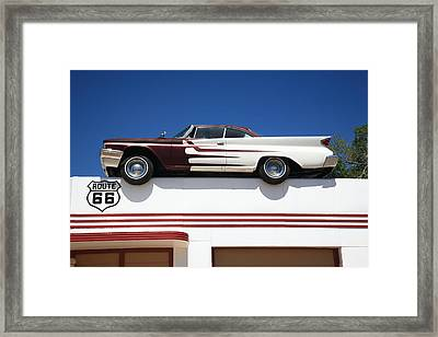 Route 66 - Desoto's Salon Framed Print by Frank Romeo
