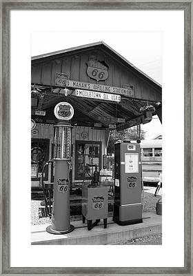 Route 66 - Shea's Gas Station Framed Print by Frank Romeo