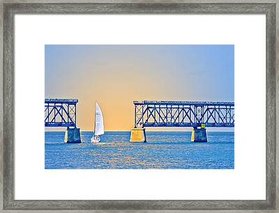 Sailing Through The Flagler Bridge Framed Print by Patrick M Lynch