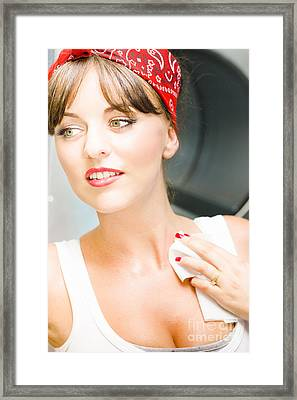 Sexy Cleaning Lady Framed Print by Jorgo Photography - Wall Art Gallery