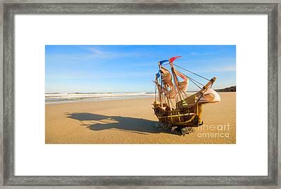 Ship Model On Summer Sunny Beach Framed Print by Michal Bednarek
