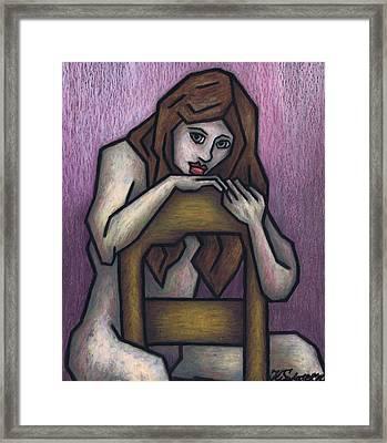 Sitting Nude Framed Print by Kamil Swiatek