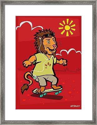 skateboarding Lion  Framed Print by Martin Davey