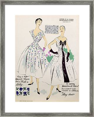 Vintage Fashion Sketches And Fabric Swatches Framed Print by French School