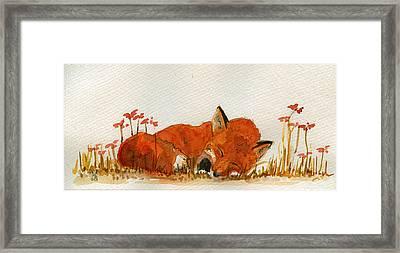 Sleeping Red Fox Framed Print by Juan  Bosco