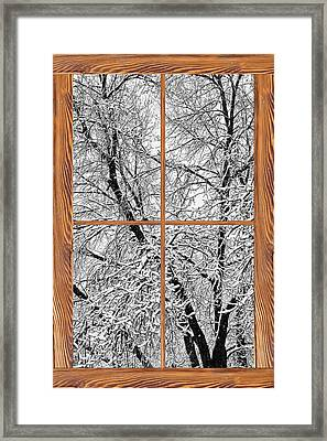 Snowy Tree Branches Barn Wood Picture Window Frame View Framed Print by James BO  Insogna