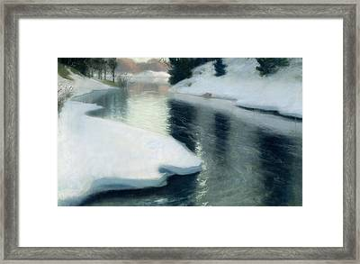 Spring Thaw Framed Print by Fritz Thaulow