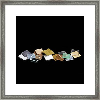 Squares Of Everyday Materials Framed Print by Science Photo Library