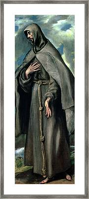 St Francis Of Assisi Framed Print by El Greco Domenico Theotocopuli
