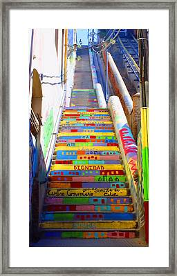Stairway To Heaven Valparaiso  Chile Framed Print by Kurt Van Wagner