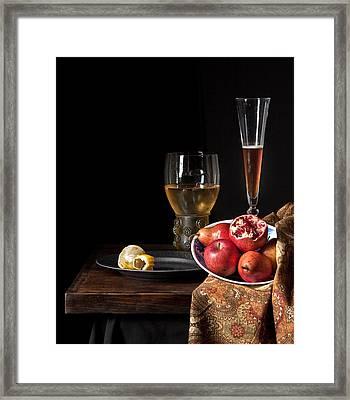 Still Life A La Willem Kalf Framed Print by Levin Rodriguez