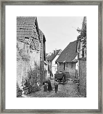 Framed Print featuring the photograph Street Scene Heidelberg Germany 1903 by A Gurmankin