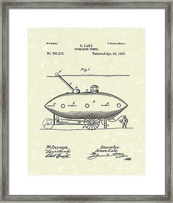 Submarine 1897 Patent Art Framed Print by Prior Art Design