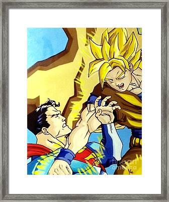 Super Man Vs Goku Framed Print by Jin Kai
