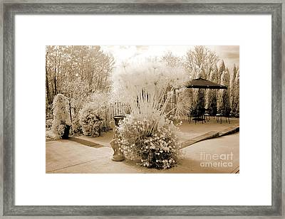 Surreal Ethereal Infrared Sepia Nature Landscape  Framed Print by Kathy Fornal