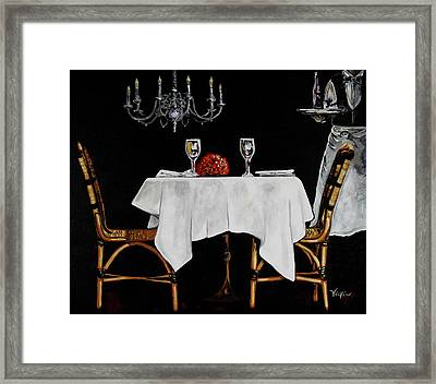 Table For Two Framed Print by Vickie Warner