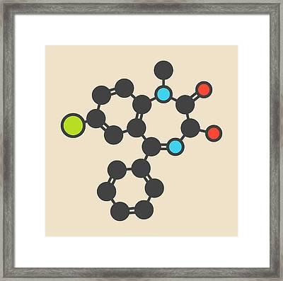 Temazepam Benzodiazepine Drug Molecule Framed Print by Molekuul