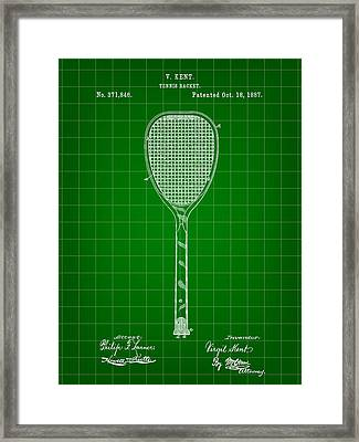 Tennis Racket Patent 1887 - Green Framed Print by Stephen Younts