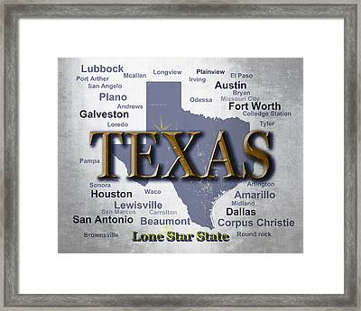 Texas State Pride Map Silhouette  Framed Print by Keith Webber Jr