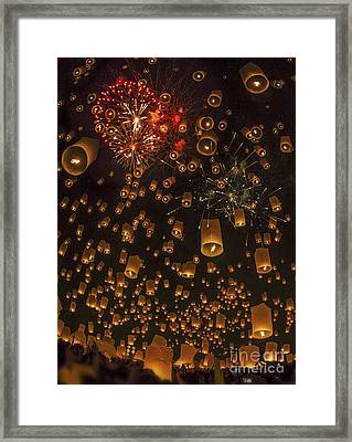 Thai People Floating Lamp Framed Print by Anek Suwannaphoom