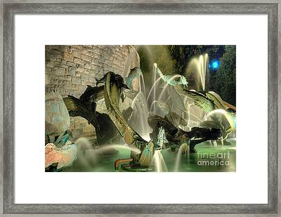 The Fountain At Founders Hall Framed Print by Mark Dodd