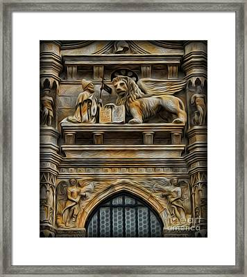 The Lion Of Venice Framed Print by Lee Dos Santos