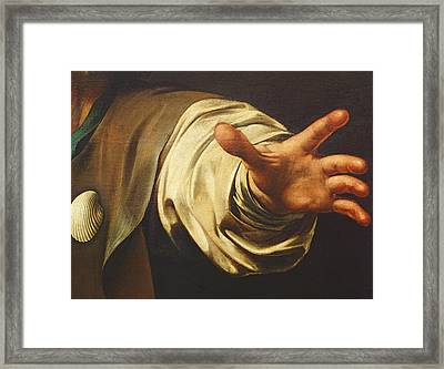 Detail From The Supper At Emmaus Framed Print by Michelangelo Merisi da Caravaggio