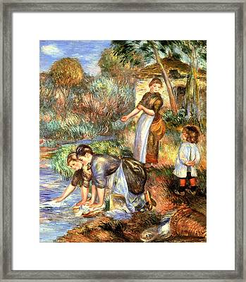 The Washerwoman Framed Print by Pierre Auguste Renoir