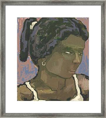 The Woman With The White Barrette Framed Print by Pemaro