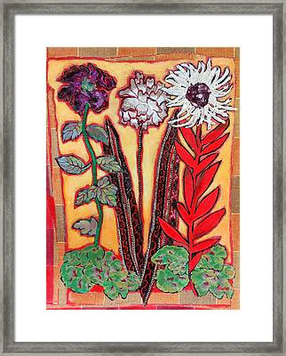 Three Flowers Framed Print by Diane Fine