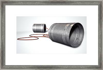 Tin Telephones Framed Print by Allan Swart