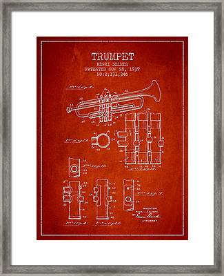 Trumpet Patent From 1939 - Red Framed Print by Aged Pixel