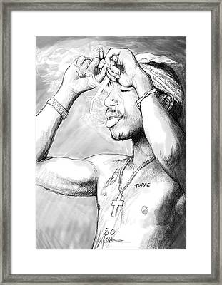 Tupac Shakur Art Drawing Sketch Portrait Framed Print by Kim Wang