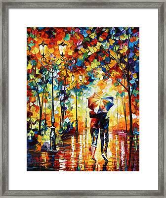 Under One Umbrella Framed Print by Leonid Afremov