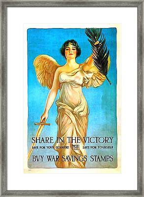 Share In The Victory Framed Print by US Army WW I Recruiting Poster