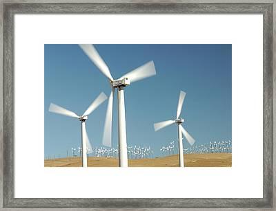 Usa, California, Wind Farm, Wind Power Framed Print by Gerry Reynolds