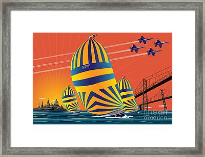 Usna Sunset Sail Framed Print by Joe Barsin