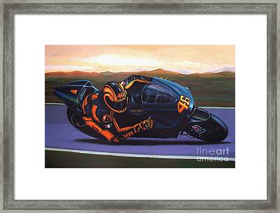 Valentino Rossi On Ducati Framed Print by Paul Meijering