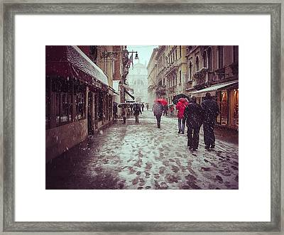 Framed Print featuring the photograph Venice In White by Thierry Bouriat