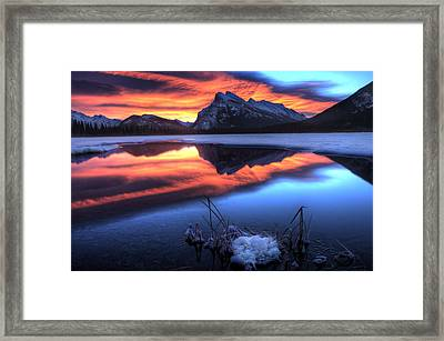 Vermillion Lakes Mount Rundle Framed Print by Mark Duffy