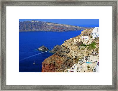 View From Oia Framed Print by David Birchall