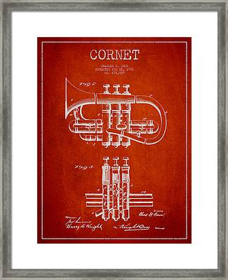 Cornet Patent Drawing From 1901 - Red Framed Print by Aged Pixel